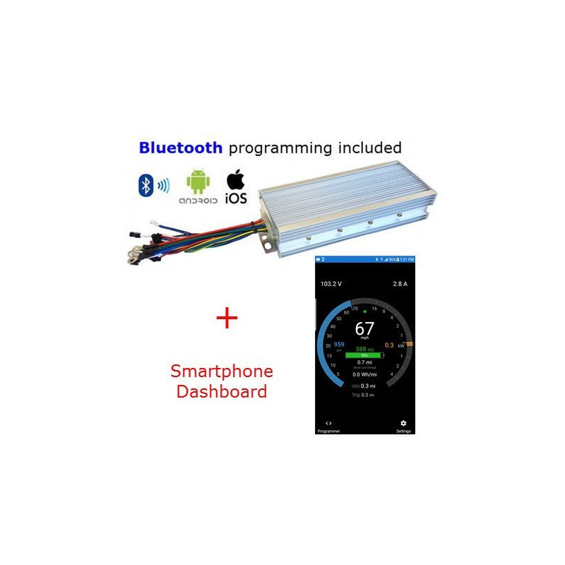 7kW eBike Sinewave/Silent Controller - Android-iOS-Bluetooth Programmable